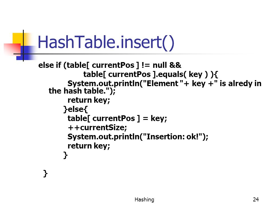 HashTable.insert() else if (table[ currentPos ] != null &&